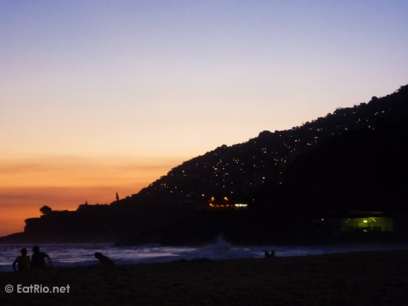 Vidigal from Leblon at sunset