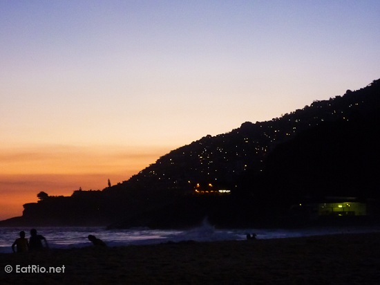 Vidigal favela at sunset